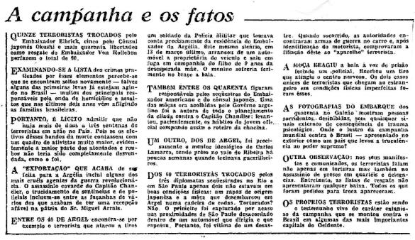 Editorial do Globo, 18/06/1970